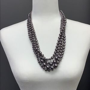 Chico's Gray Pearl Layered Necklace
